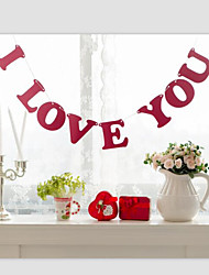 """Red Color"""" I LOVE YOU"""" Wedding Valentines Banner Sign with String"""