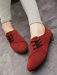 povoljno -Žene Cipele Tkanina Proljeće Ljeto Jesen Udobne cipele Ravna potpetica Vezanje za Vanjski Crn Sive boje Bijela Crvena