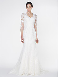 cheap -Mermaid / Trumpet V-neck Court Train Tulle Wedding Dress with Appliques Lace by LAN TING BRIDE®