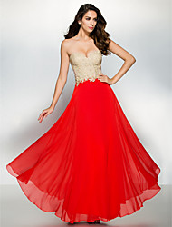 A-Line Sweetheart Ankle Length Chiffon Lace Formal Evening Dress with Appliques by TS Couture®