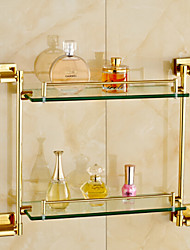 cheap -Bathroom Shelf Bathroom Gadget Contemporary Brass Glass Bathroom Shelf