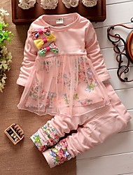 Girl's Cotton Lovely Bowknot Veil Floral Two-Piece Outfit