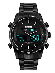 cheap -SKMEI Men's Sport Watch / Wrist Watch Alarm / Calendar / date / day / Chronograph Stainless Steel Band Black / Water Resistant / Water Proof / Dual Time Zones