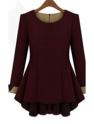 cheap -Women's Plus Size Solid Red/Black/Beige T-shirt,Casual/Work Round Neck Long Sleeve