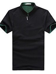 Masculino Camiseta Poliéster Cor Solida Manga Curta Casual-Preto / Azul / Verde / Vermelho