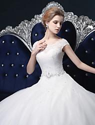 economico -Vestito da cerimonia nuziale del tulle di lunghezza del pavimento-spalla dell'abito di sfera con il cristallo di lan ting bride®