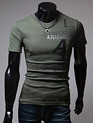 preiswerte -Herren T-shirt-Druck Freizeit Baumwolle / Polyester Kurz-Grün / Rot / Weiß / Grau