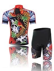 baratos -Homens Manga Curta Camisa com Shorts para Ciclismo - Preto/Vermelho Desenho Animado Animal Moto Shorts Camisa/Roupas Para Esporte