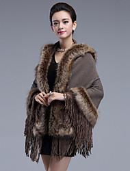 Damen Standard Mantel / Capes-Übergröße Retro Patchwork Rot Schwarz Gelb V-Ausschnitt Langarm Wolle Acryl Winter Mittel Mikro-elastisch