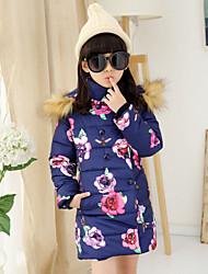 Piumino e giubbino di cotone Girl Inverno Poliestere Blu / Rosa Fantasia floreale