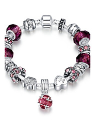cheap -Classic Vintage Women's Rhinestones Stoving Varnish Glass Silver Plated Tin Alloy Charm Bracelet(Pink,Purple)(1Pc) Christmas Gifts