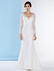 Mermaid / Trumpet Plunging Neckline Sweep / Brush Train Lace Wedding Dress with Lace Button by LAN TING BRIDE®