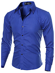 cheap -Men's Daily / Work Plus Size Cotton / Polyester Slim Shirt - Solid Colored Classic Collar / Long Sleeve