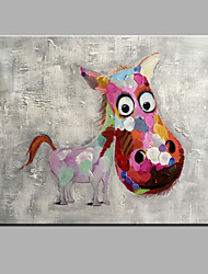 cheap -Oil Painting Hand Painted - Animals Modern Canvas