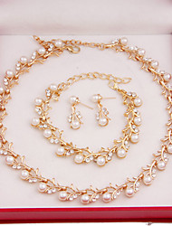 cheap -Fashion Women Costume Party Gold Plated Imitation Pearl Jewelry Sets