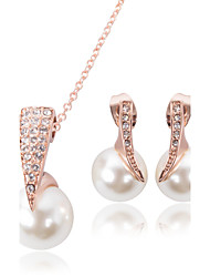Women's Imitation Pearl Bridal Wedding Party Imitation Pearl Alloy 1 Pair of Earrings Necklaces