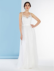 cheap -A-Line Spaghetti Straps Sweep / Brush Train Lace Tulle Wedding Dress with Lace by LAN TING BRIDE®
