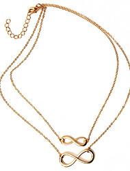 Недорогие -Жен. Ожерелья с подвесками - бесконечность Классический, Двойной слой Серебряный, Золотой Ожерелье Бижутерия Назначение Для вечеринок, Повседневные
