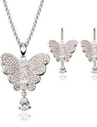 abordables -Mujer Cristal Conjunto de joyas - Mariposa, Animal Incluir Plata Para Boda / Fiesta / Collare