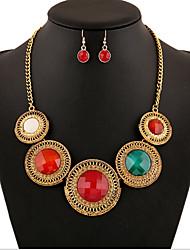 abordables -Cristal Conjunto de joyas - Zirconia Cúbica, Diamante Sintético Lujo, Vintage, Fiesta Incluir Rojo / Verde claro / Nudo Para / Pendientes / Collare