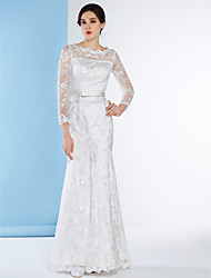 cheap -Sheath / Column Scoop Neck Ankle Length Lace Wedding Dress with Lace by LAN TING BRIDE®