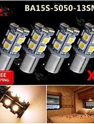 cheap -4x Warm White Ba15s 1156 RV Reverse 13 LED SMD Car Rear Turn Light Signal Bulbs