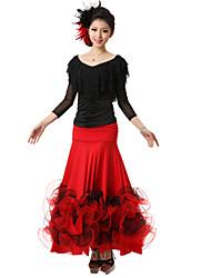 Ballroom Dance Outfits Women's Performance Crepe Silk Draped 2 Pieces Top Skirt