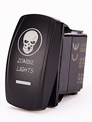 Iztoss Laser Blue ON-OFF Rocker Switch w/ Jumper Wire 5Pin 20 Amp 12 Volt LED Lights - ZOMBIE LIGHTS