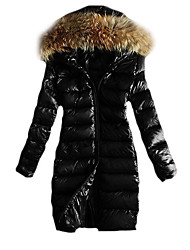cheap -Women's Solid Black / Brown Parka Coat , Casual / Work / Plus Sizes Hooded Long Sleeve Down Jacket Winter Coat