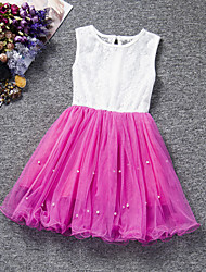 Girl's Pink / Purple / Red / White Dress , Lace Polyester Summer
