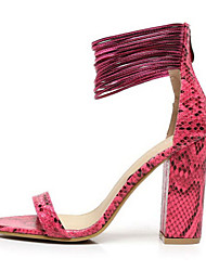 povoljno -Žene Cipele Umjetna koža Ljeto Kockasta potpetica Patent-zatvarač za Kauzalni Formalne prilike Zabava i večer Obala Crn žuta Sive boje