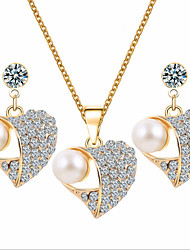 Lucky Doll Women's All Matching Rose Gold Plated Man Made Pearl Zirconia Heart Necklace & Earrings Jewelry Sets