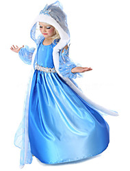 cheap -Princess Fairytale Elsa Cosplay Costume Movie Cosplay Blue Coat Dress Gloves Halloween New Year Chiffon