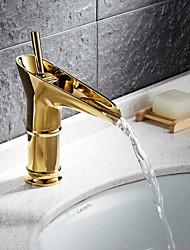 Antico Installazione centrale Valvola in ceramica Uno Una manopola Un foro for  Ti-PVD , Lavandino rubinetto del bagno