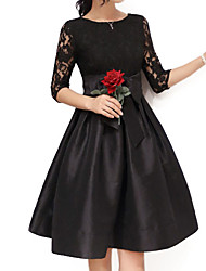 cheap -Women's Going out Plus Size Sophisticated Skater Dress,Solid Round Neck Above Knee Half Sleeves Cotton Polyester Nylon Spandex All Seasons