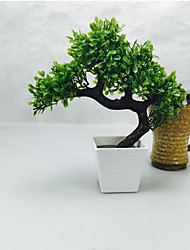 cheap -Living Room Interior Combination Simulation Green Plants Potted Artificial Flower Leaves Little Fake tree Bonsai