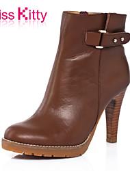 Žene Cipele Koža Jesen Stiletto potpetica 5.08 cm-10.16 cm Čizme gležnjače / do gležnja za Ured i karijera Formalne prilike Braon