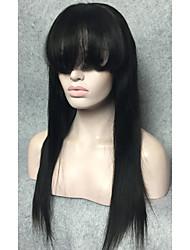 Недорогие -кружево фронт парик мягкие бразильские волосы спереди парик шнурка черные прямые аккуратные челки 14-24inches человеческих волос парики