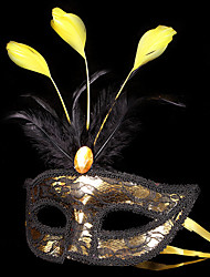 Angel/Devil Mask Masquerade Unisex Halloween Carnival Festival/Holiday Halloween Costumes Golden+Black Patchwork
