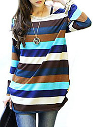 cheap -Women's Going Out Stripes Patchwork Color Long Sleeve T-shirt