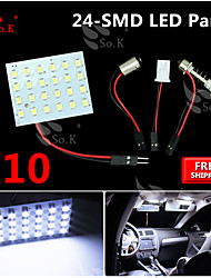 10X Super White 3528 SMD 24LED Panel Festoon T10 BA9S RV Interior Dome Map LED Light