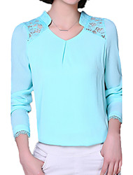cheap -Women's Blouse Lace / Mesh / Print V Neck / Spring