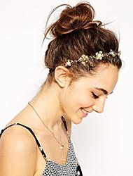 Women Fashion Metal Golden Flower Pearl Hair Bands Hair Accessories 1pc