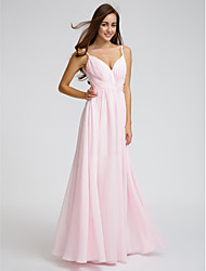 A-Line Spaghetti Straps Floor Length Chiffon Bridesmaid Dress with Side Draping Criss Cross by LAN TING BRIDE®