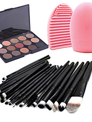 cheap -20pcs Makeup Brushes Set Eyeshadow Eyeliner Lip Brush Tool+15Colors Matt Eyeshadow Palette+1PCS Brush Cleaning Tool