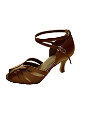 cheap -Women's Latin Shoes Satin Sandal / Heel Buckle Stiletto Heel Non Customizable Dance Shoes Brown