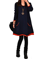 cheap -Women's Solid / Patchwork Blue / Black Thick Loose Thin Dress , Cute / Plus Sizes Round Neck Long Sleeve