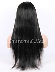 Недорогие -на складе 10-28inch шелка прямо бразильский девственные волосы естественного цвета полный парик шнурка