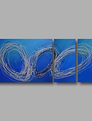 "cheap -Ready to Hang Hand-Painted Oil Painting Canvas Three Panels 56""x24"" Wall Art Modern Abstract Light Blue"