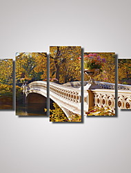 cheap -Photographic Print Canvas Print Landscape Romance Leisure Botanical Photographic Travel Five Panels Horizontal Wall Decor Home Decoration